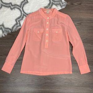 J. Crew Coral Silk Blouse Size 2